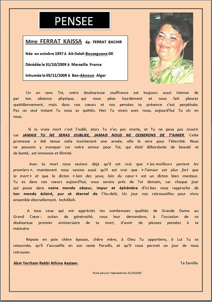 Ben Aknoun-Ait Salah-évocation: Emouvant hommage à la défunte épouse et mère, Mme FERRAT Kaissa, décédée il y a une année - 8 octobre 2010 -  dans Accueil ferratpensee740nov2010