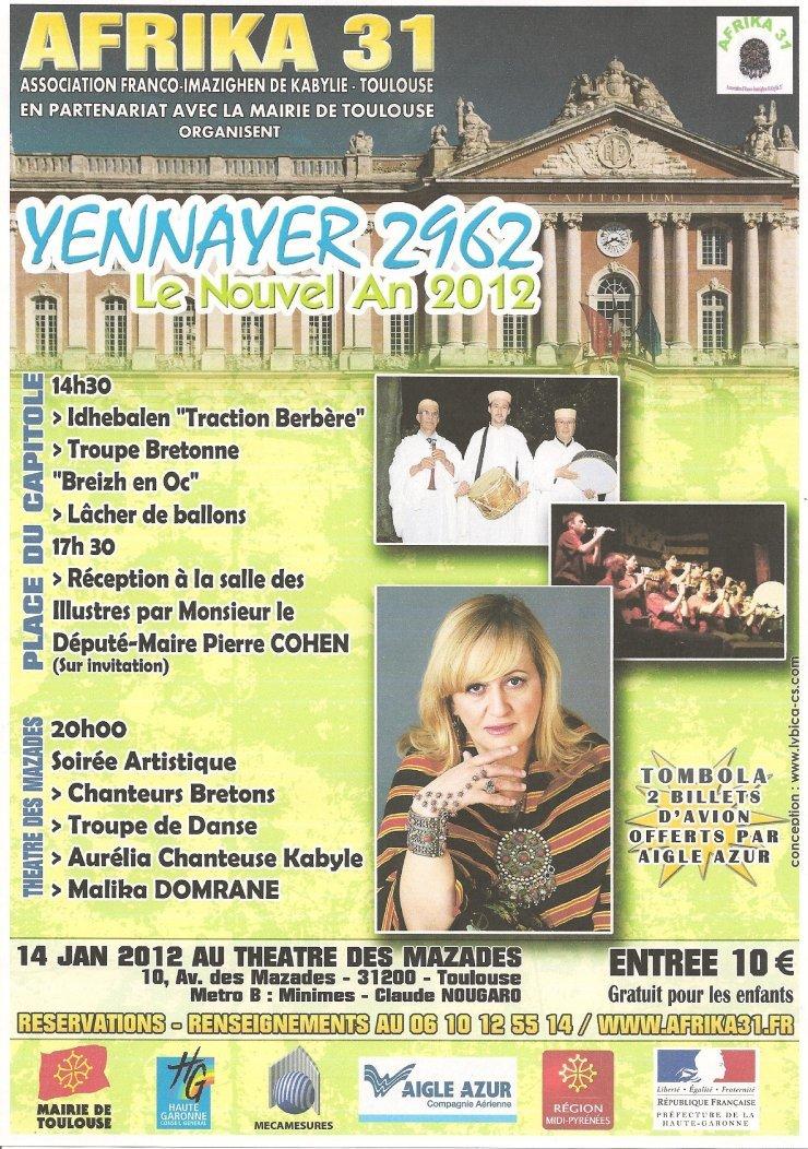 Nouvel an 2012 - Yennayer 2962 : L'association franco-imazighen de Toulouse ''Afrika 31'' prépare une grande fête pour le 14 janvier en partenariat avec la Mairie de Toulouse - 18 décembre 2011 -  dans Accueil afrika31Affiche740