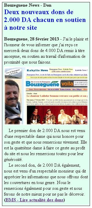 Kabylie (Algérie) Agence Free Presse de BMS – Janvier  - février 2013 actudonsunblog